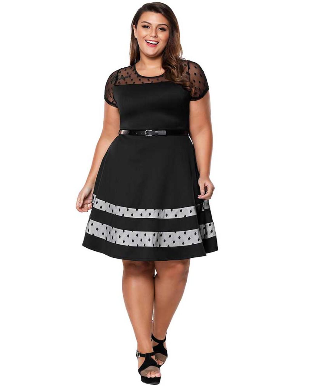 Black dot hollow mesh neck plus size mini dress