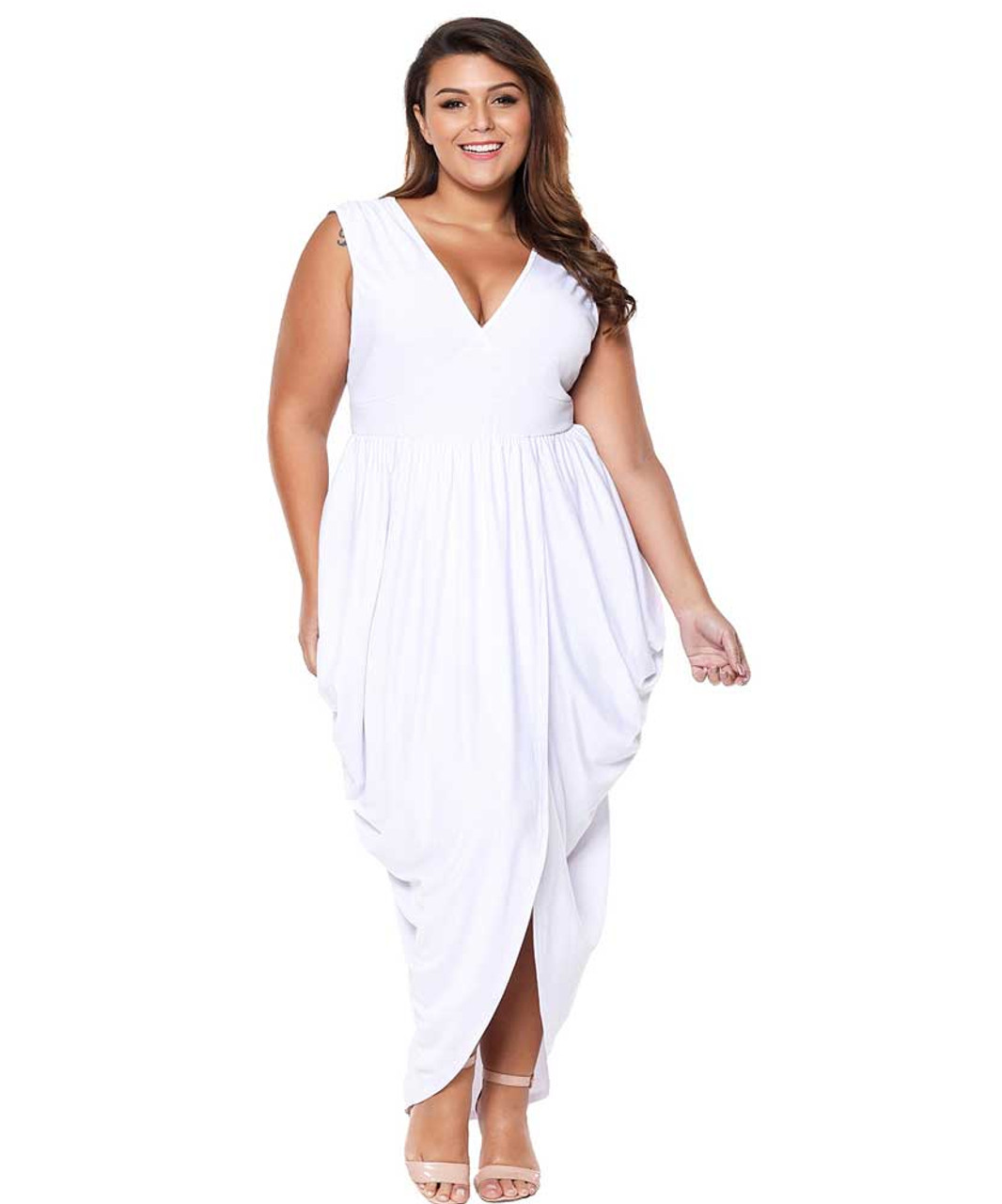 White V neck draping ruffle plus size maxi dress