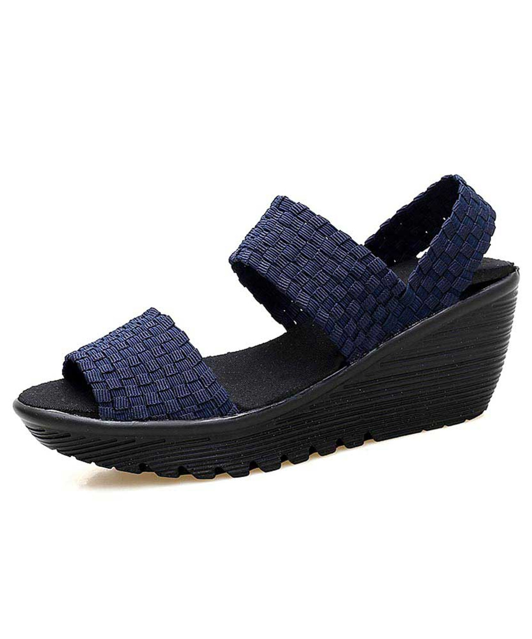 a34fad7fb Navy weave check slip on shoe wedge sandal   Womens wedge sandals ...