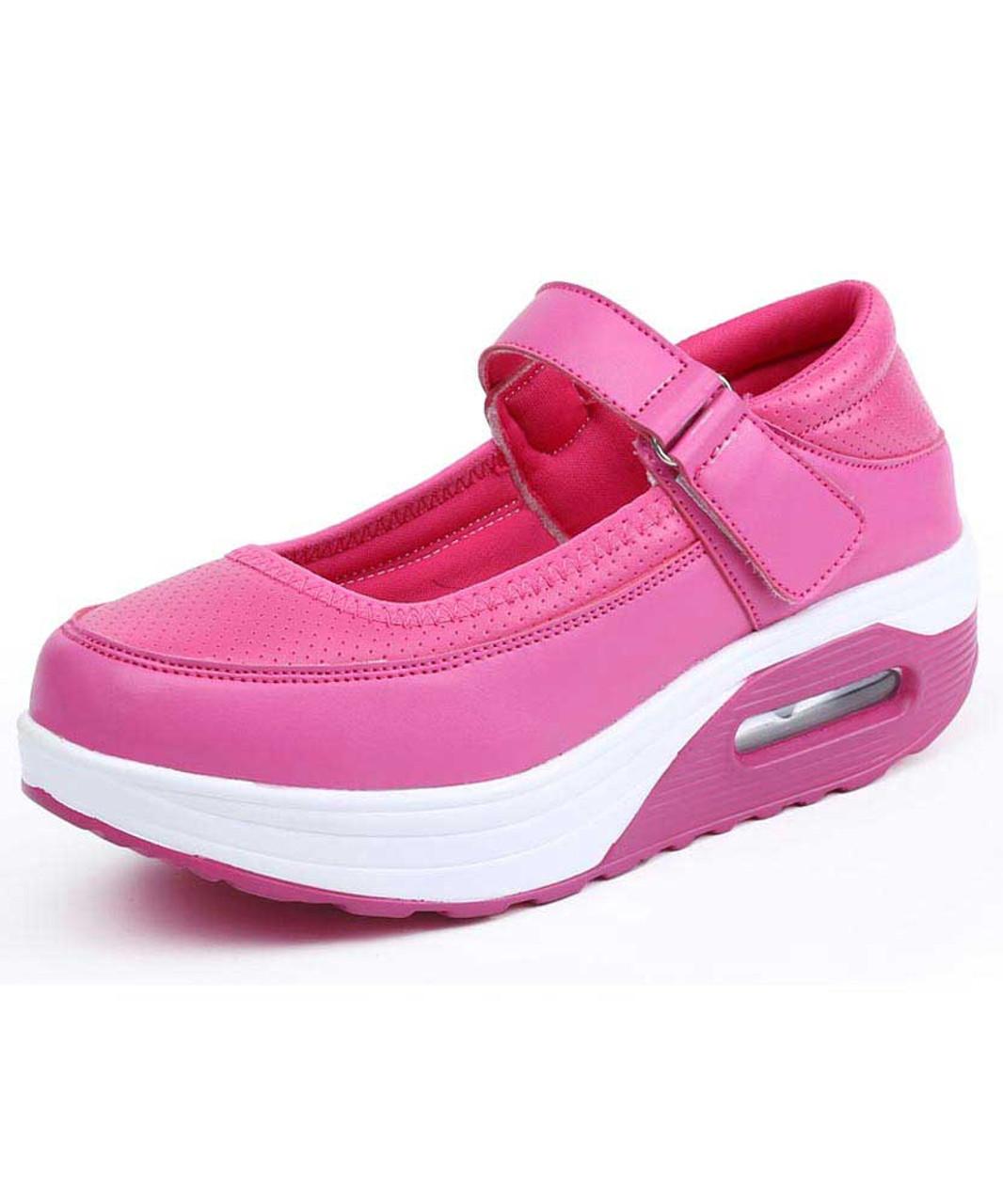 save off 0bc7a 76df6 Rose red low cut velcro slip on rocker bottom shoe sneaker