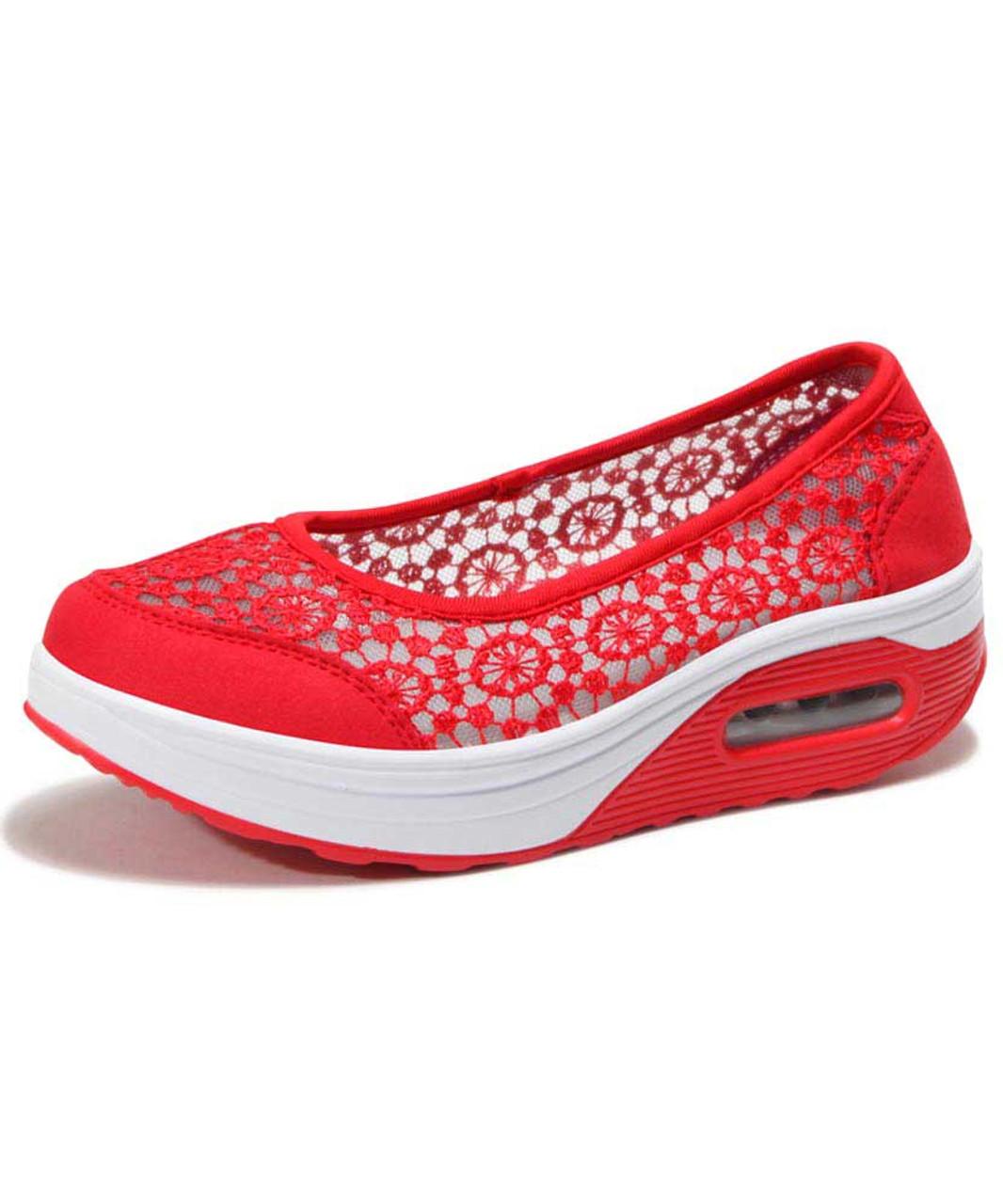 super popular 461d8 c97b4 Red lace low cut slip on rocker bottom shoe sneaker