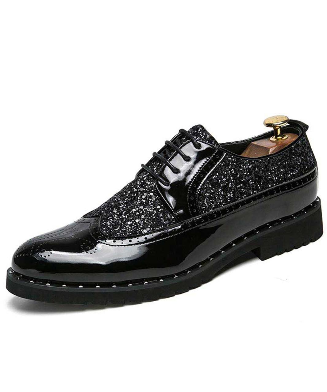 mens black spiked dress shoes