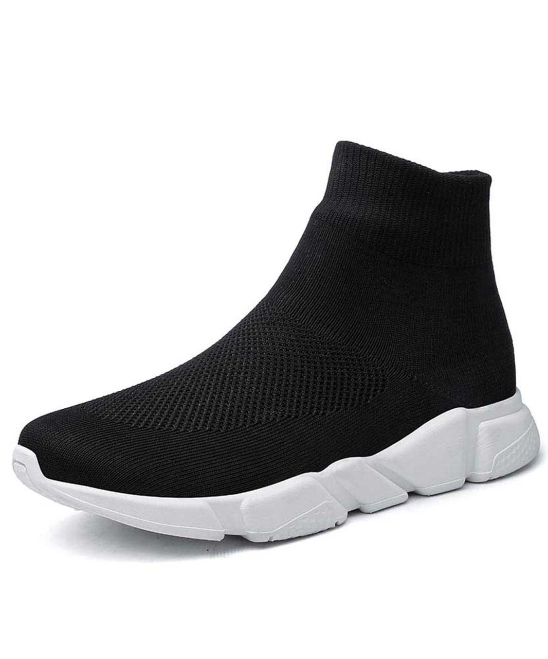 Black flyknit high top slip on sock