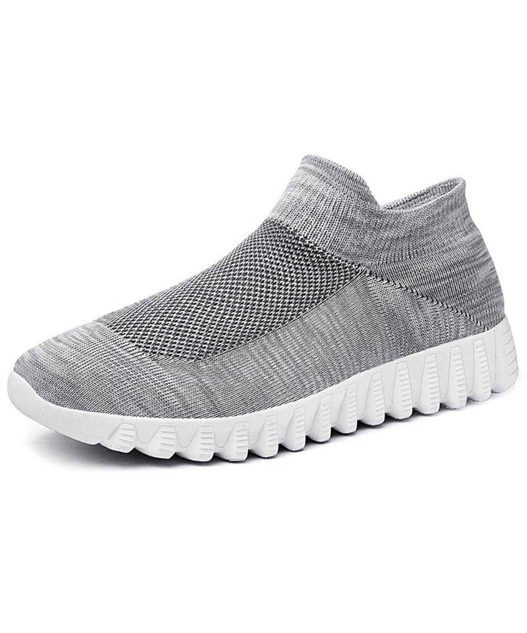 Grey flyknit textured slip on sock like