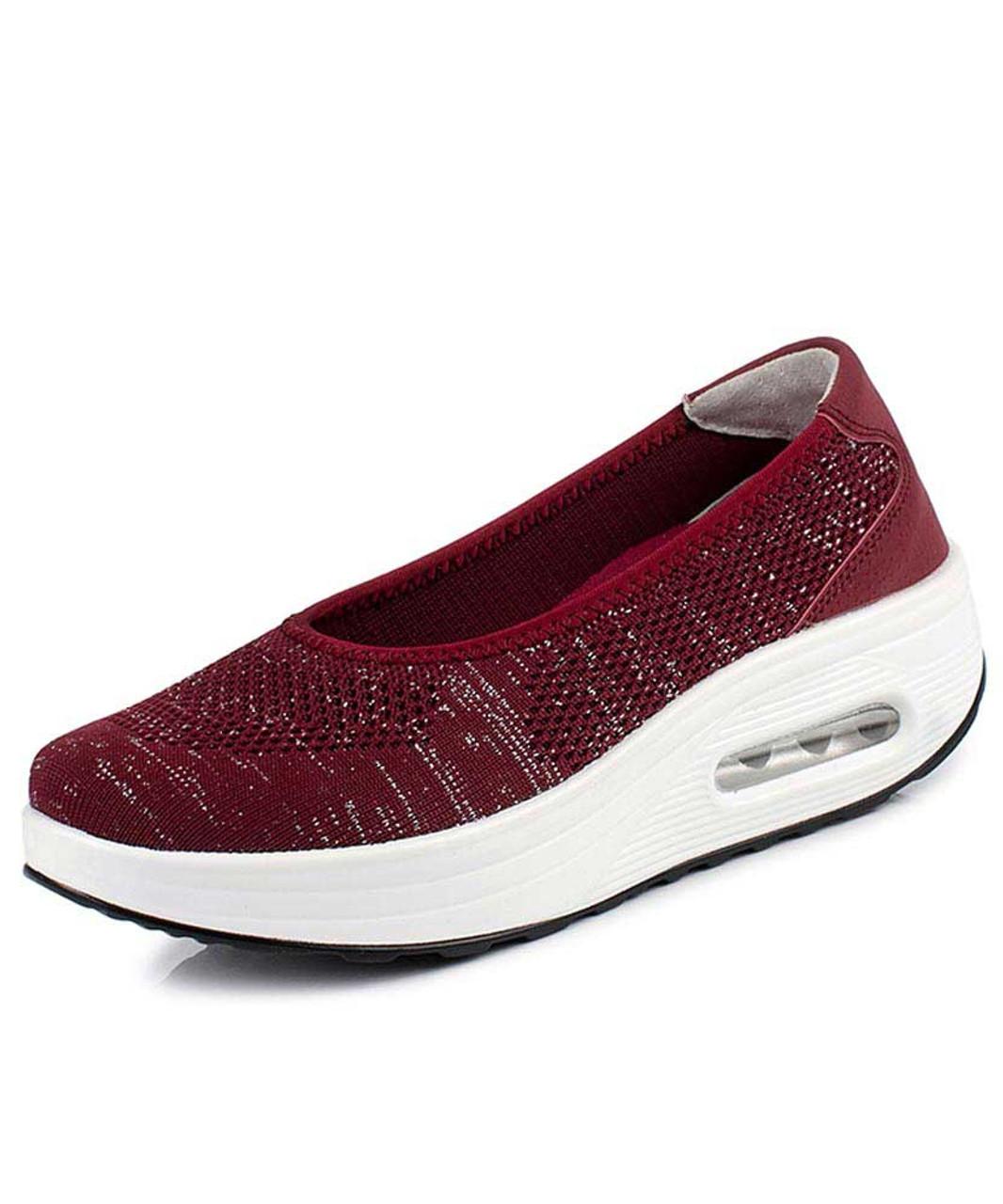 official photos 474cc d209f Red low cut texture slip on rocker bottom shoe sneaker