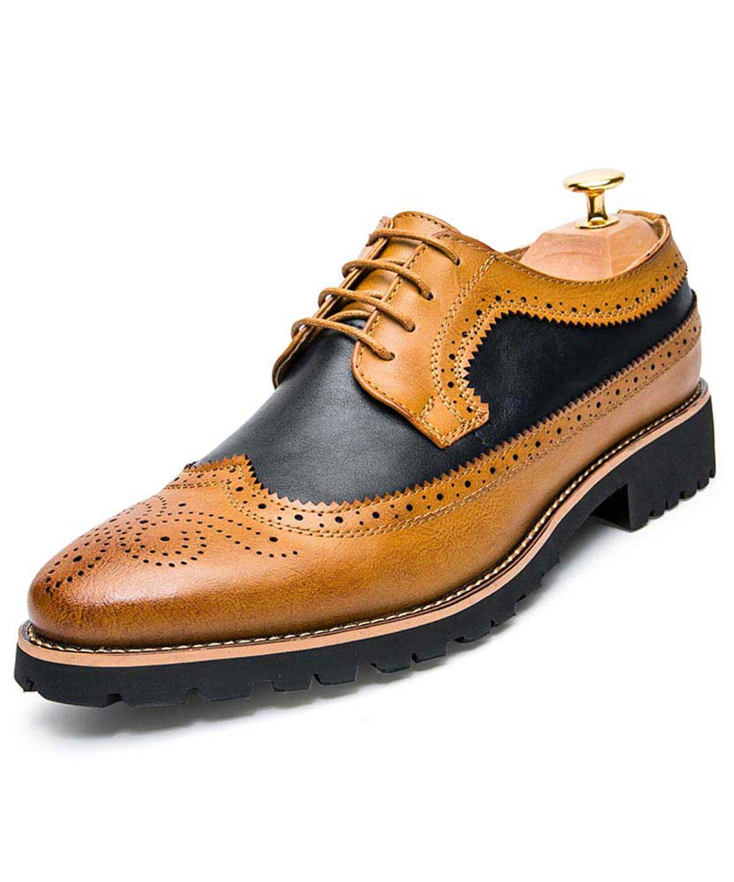 Brown two tone brogue leather derby