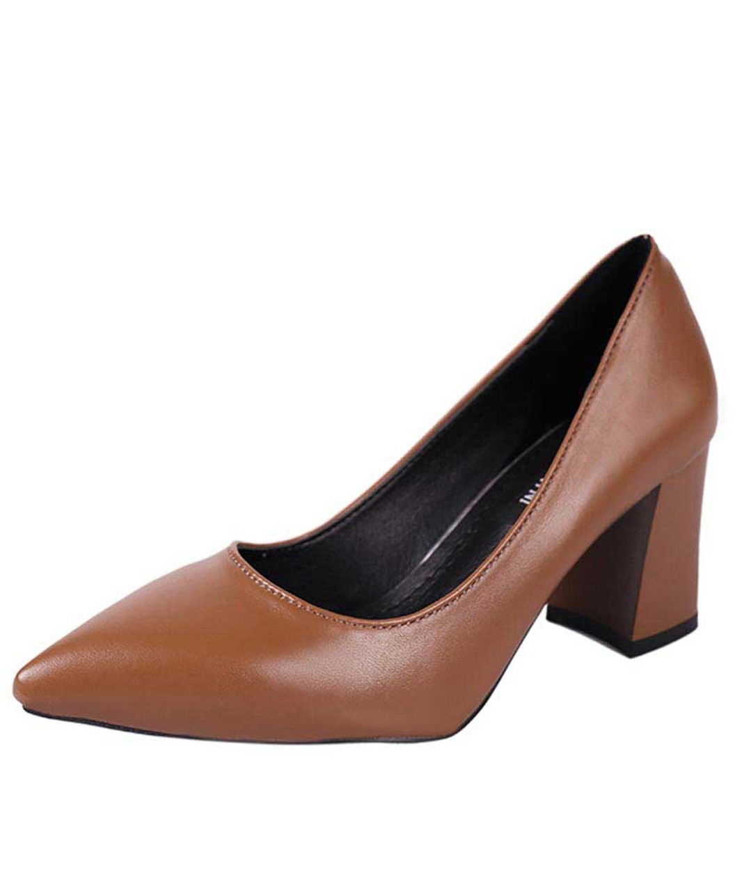 new high quality find workmanship new style of 2019 Brown slip on mid thick heel dress shoe in plain