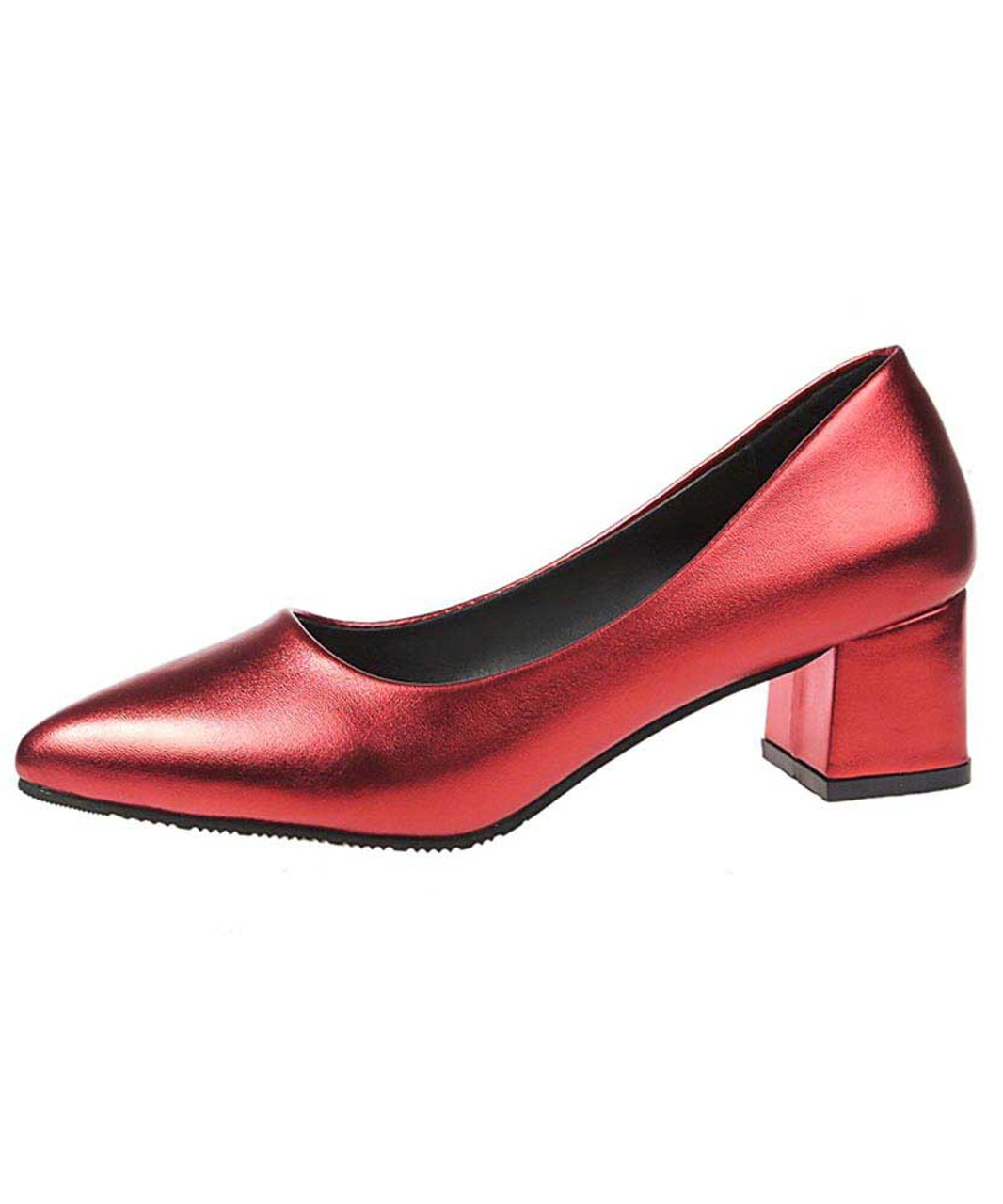 Red slip on mid thick heel dress shoe point toe