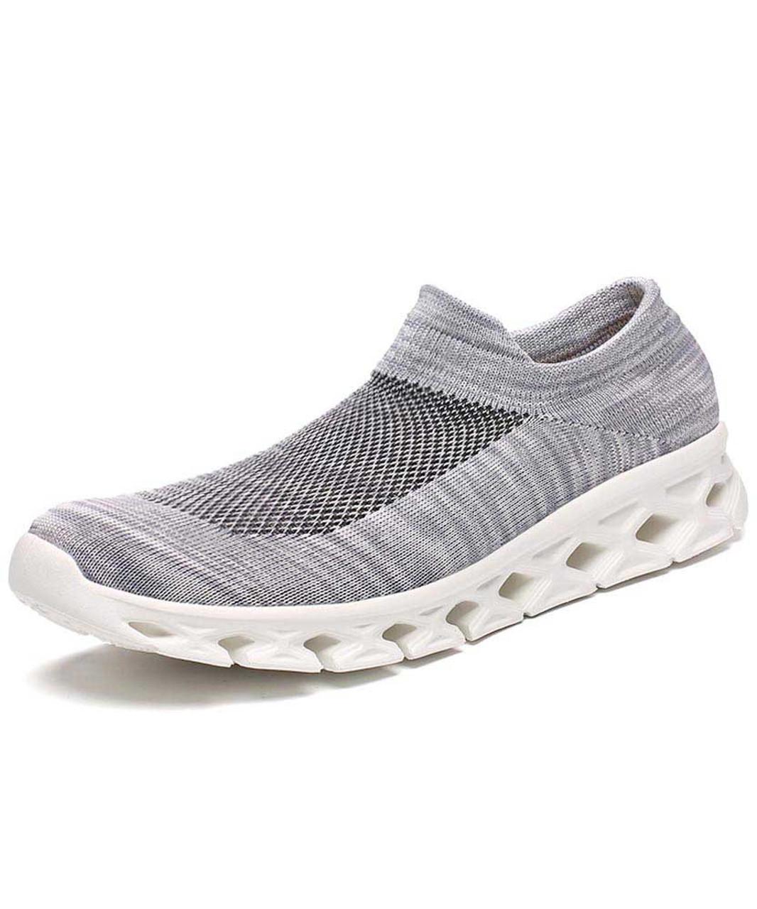 Grey texture pattern flyknit slip on