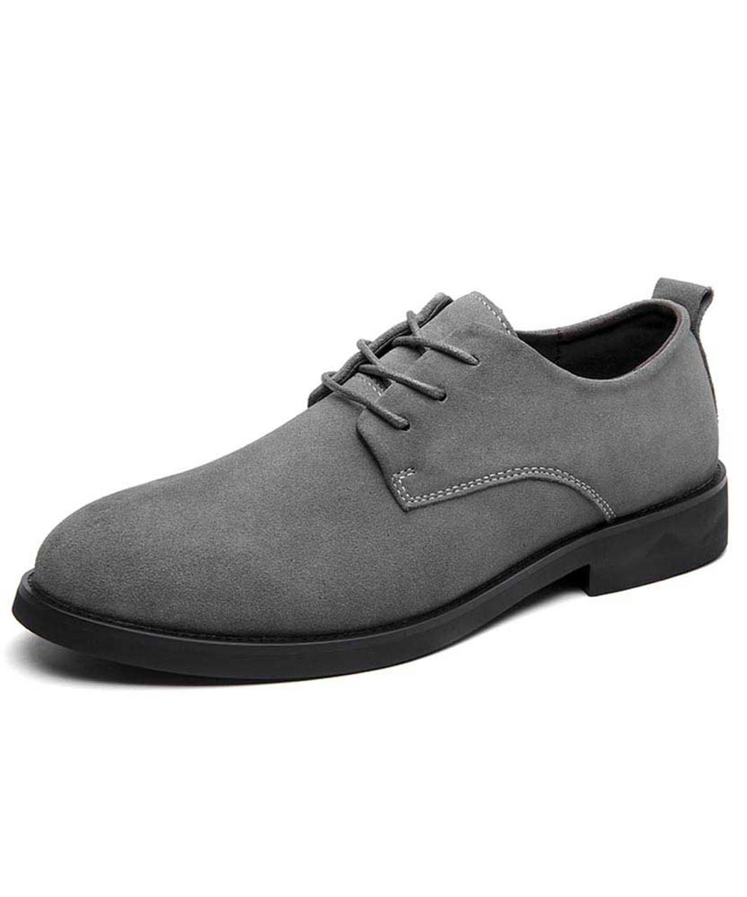 Grey suede leather derby dress shoe