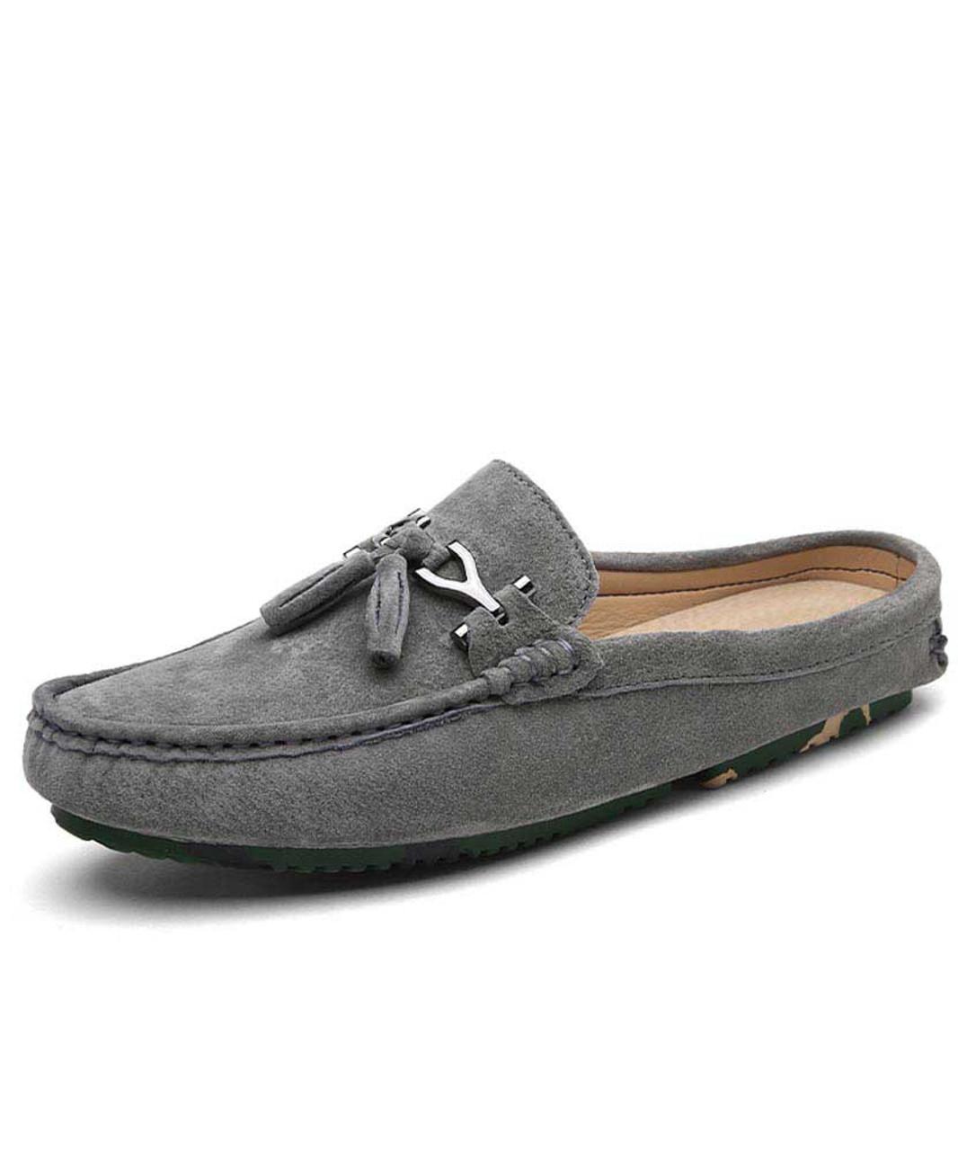 Grey tassel buckle leather slip on half