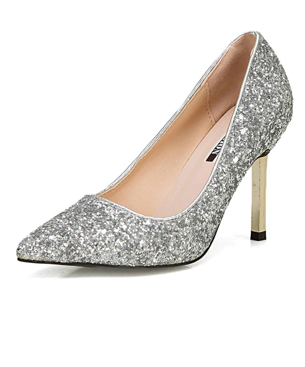 silver sequin dress shoes
