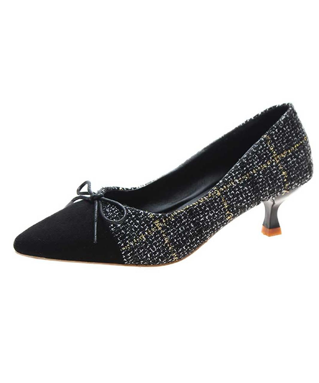 Black Check Bow Tie Slip On Heel Dress Shoe Womens Heel Dress Shoes Online 2159ws