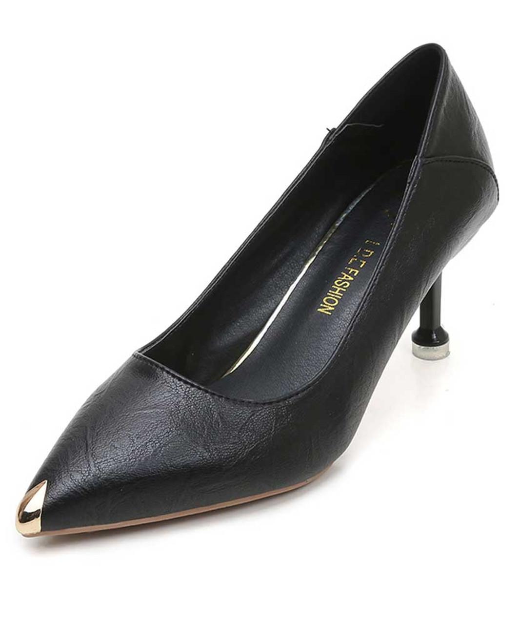 Black metal toe front heel slip on
