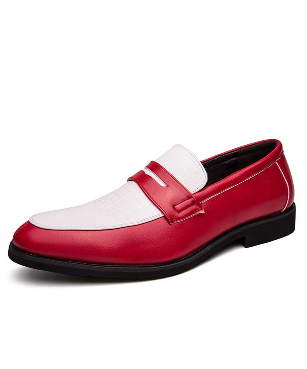 White red leather slip on penny strap