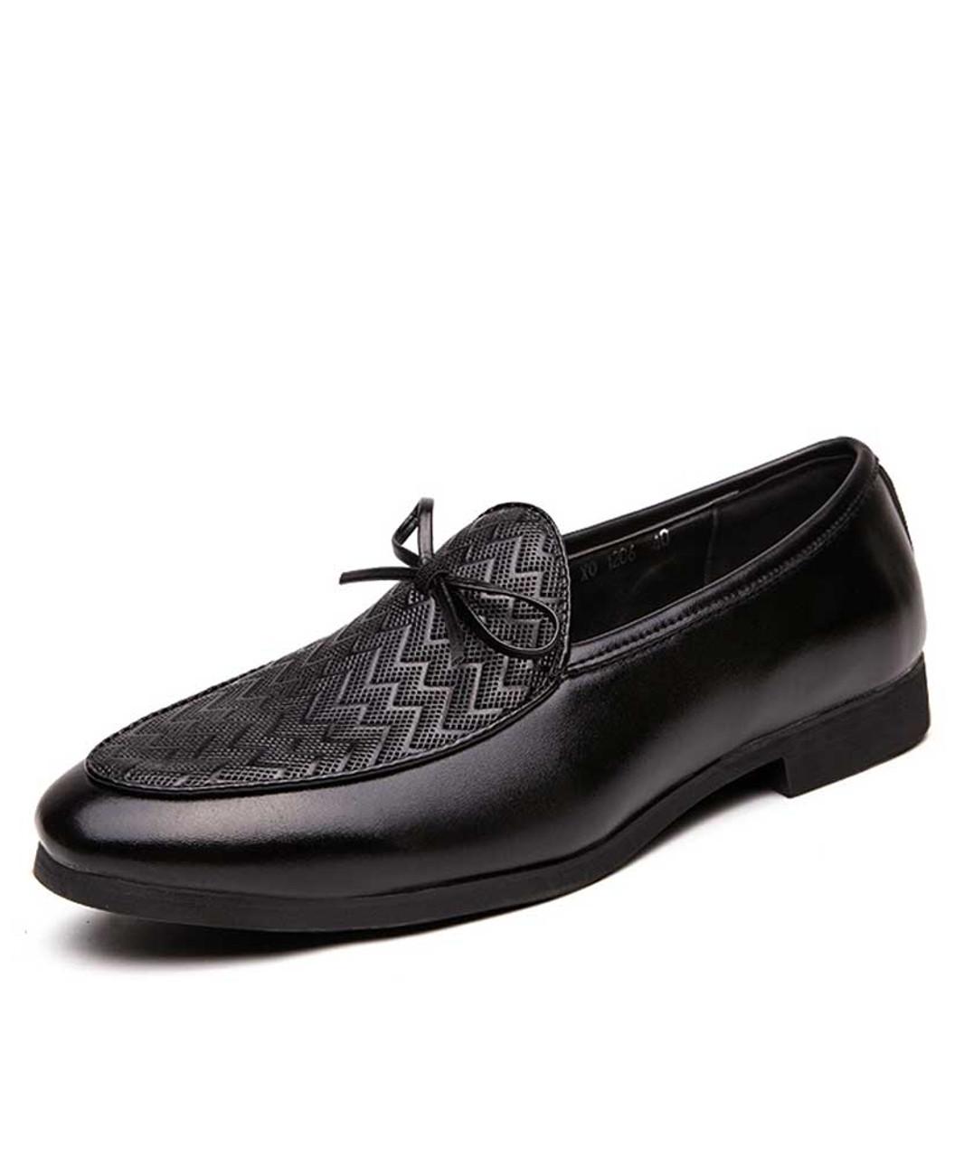 Black Weave Pattern Bow Tie Leather Slip On Dress Shoe Mens Dress Shoes Online 2015ms