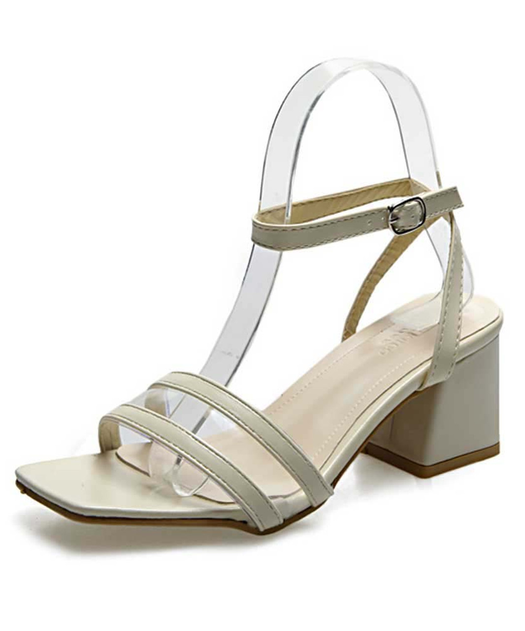Beige ankle strap buckle thick heel