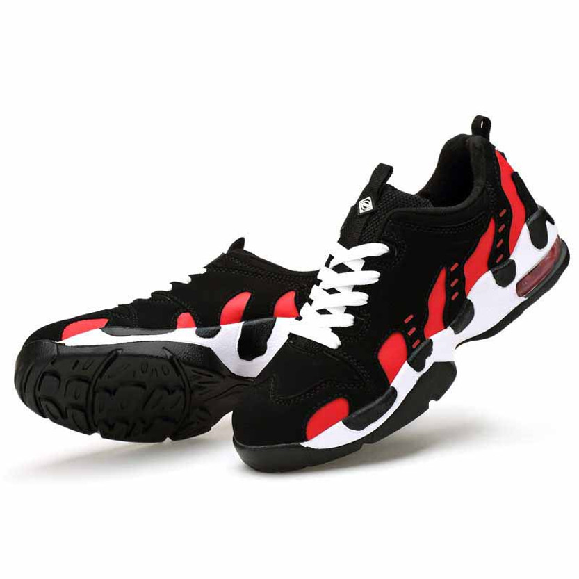 Black red pattern leather air sole