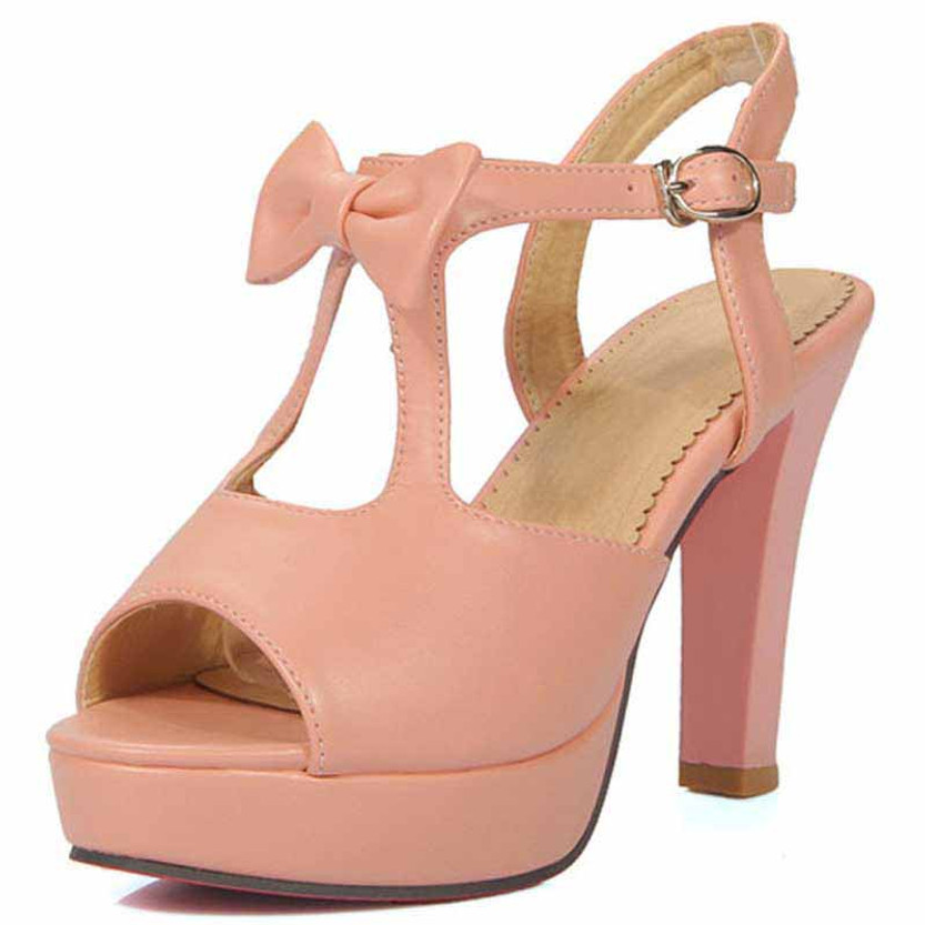 Pink butterfly buckle leather chunky heel