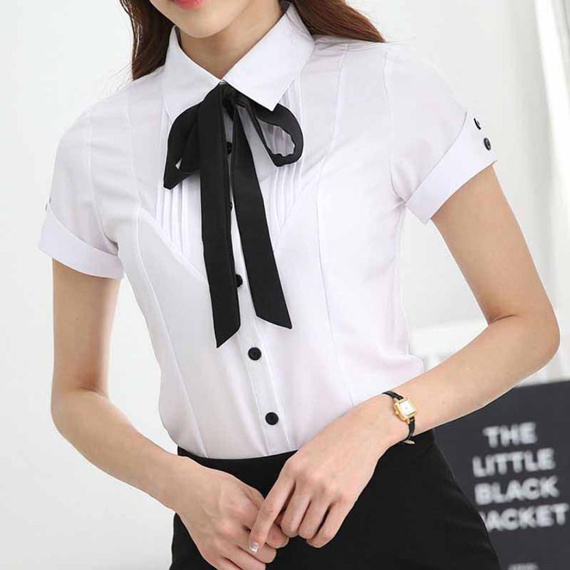 abb588fe8029e0 White pleated black necktie short sleeve button shirt | Womens tops ...