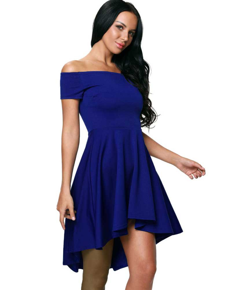 30200d8e7cbd Blue short front long back off the shoulder mini dress   Womens ...