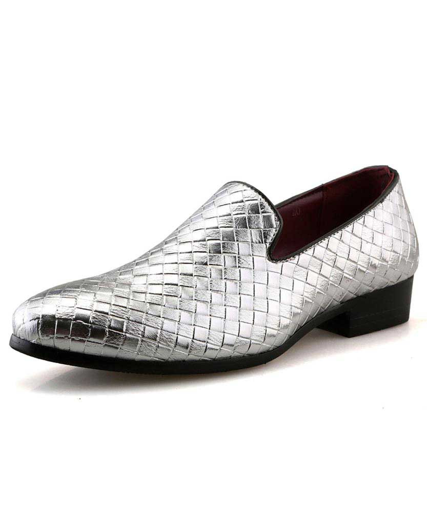 Silver check pattern leather slip on