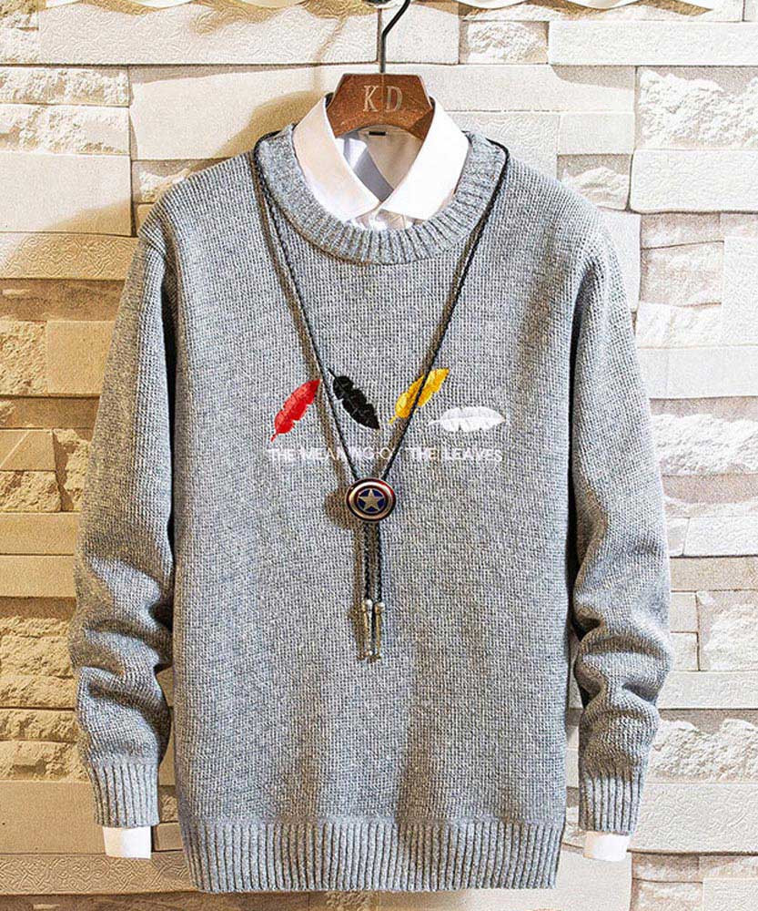 Grey color leaves pattern pull over sweater