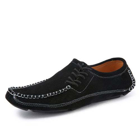 black urban casual suede leather slip on shoe loafer