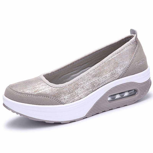 grey leather low cut slip on rocker bottom shoe sneaker