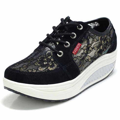 black floral lace rocker bottom shoe sneaker  womens