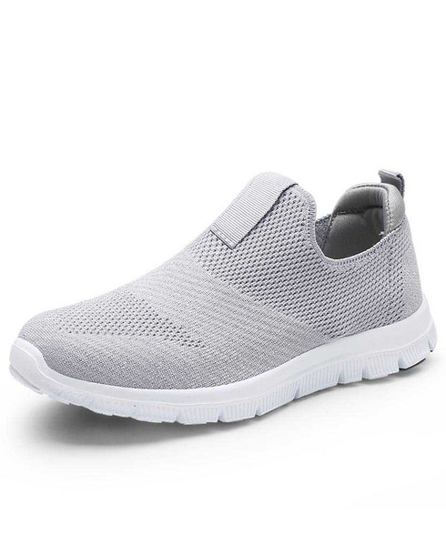 Grey flyknit slip on shoe sneaker