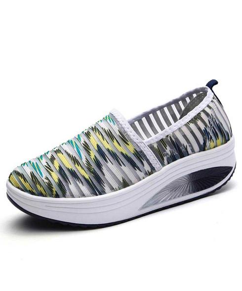 Green stripe pattern slip on rocker bottom shoe sneaker