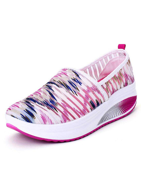 Mix color stripe pattern slip on rocker bottom shoe sneaker