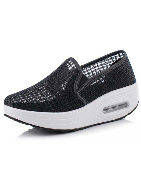 Black check hollow lace slip on rocker bottom shoe sneaker