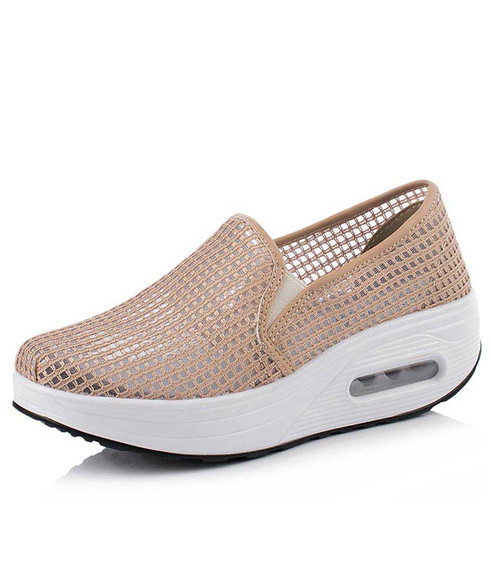 Pink check hollow lace slip on rocker bottom shoe sneaker