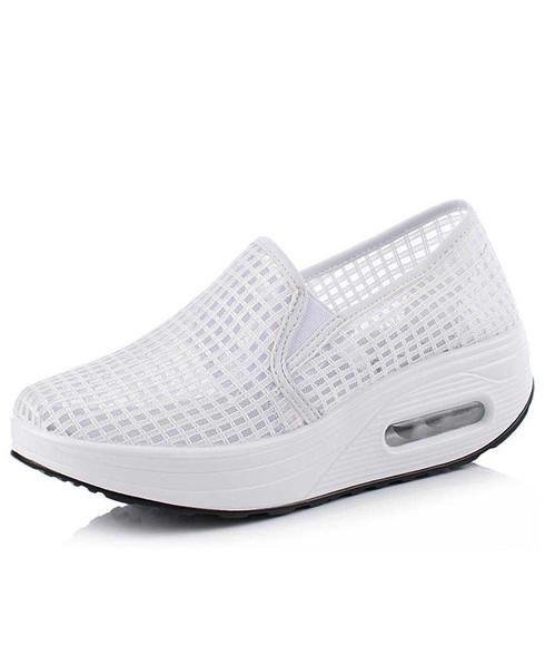 White check hollow lace slip on rocker bottom shoe sneaker