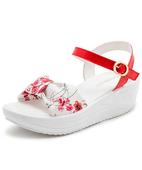 Red irregular floral print rocker bottom shoe sandal