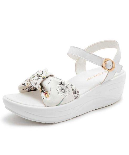 White irregular floral print rocker bottom shoe sandal