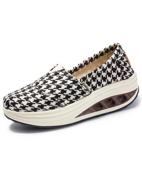 Black check pattern canvas slip on rocker bottom shoe sneaker