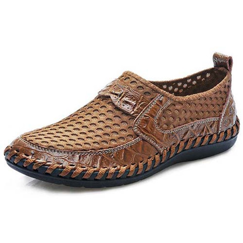 men's brown casual mesh leather slip on shoe  mens slip