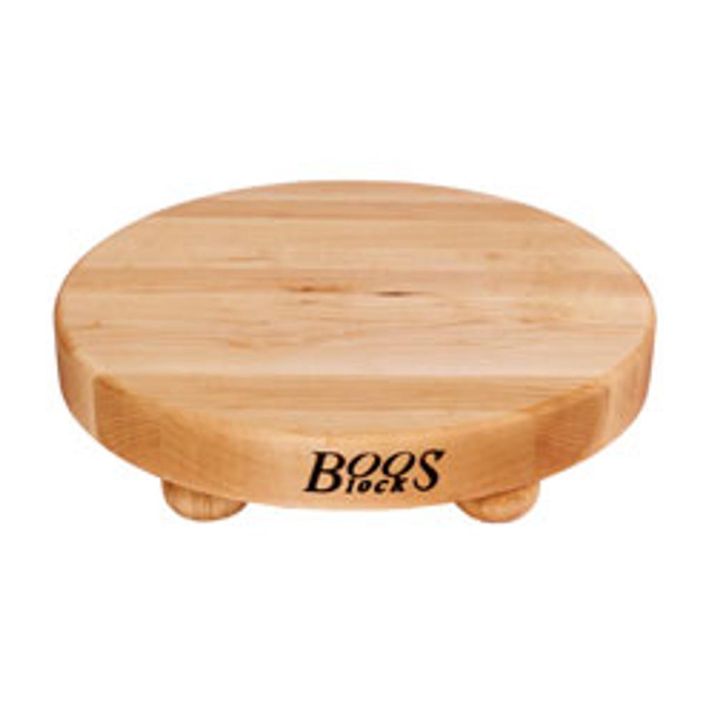"""John Boos Maple B12 Cutting Board - 12"""" Diameter - with Bun Feet"""