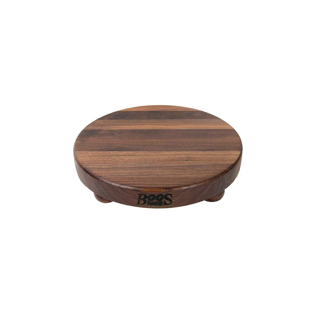 "John Boos Walnut B12 Cutting Board - 12"" Diameter - with Bun Feet"