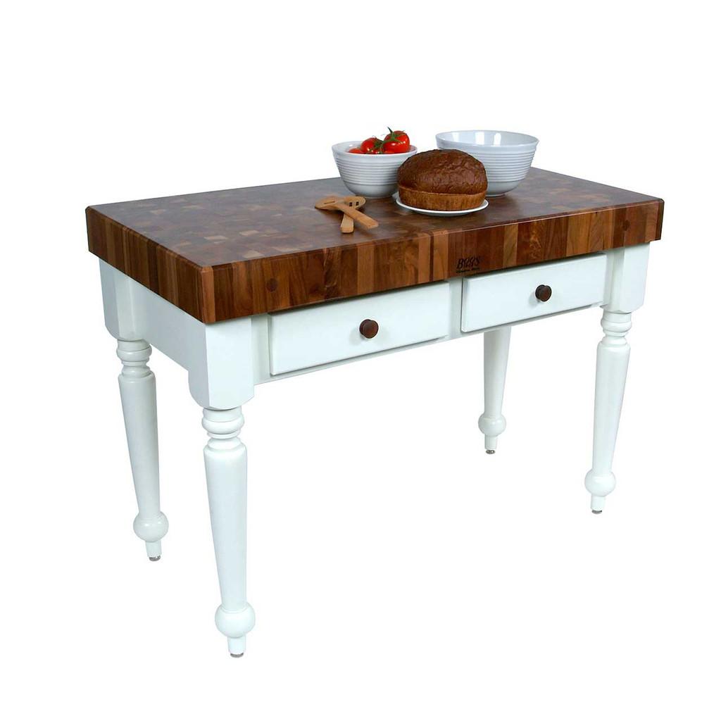 "John Boos Walnut Rustica Prep Table, Kitchen Island - 48""x 24""x 4"" - Alabaster Base"