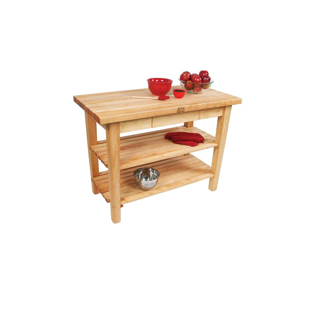 """John Boos Country Work Table with 2 Shelves - 48""""x24""""x1-3/4"""""""