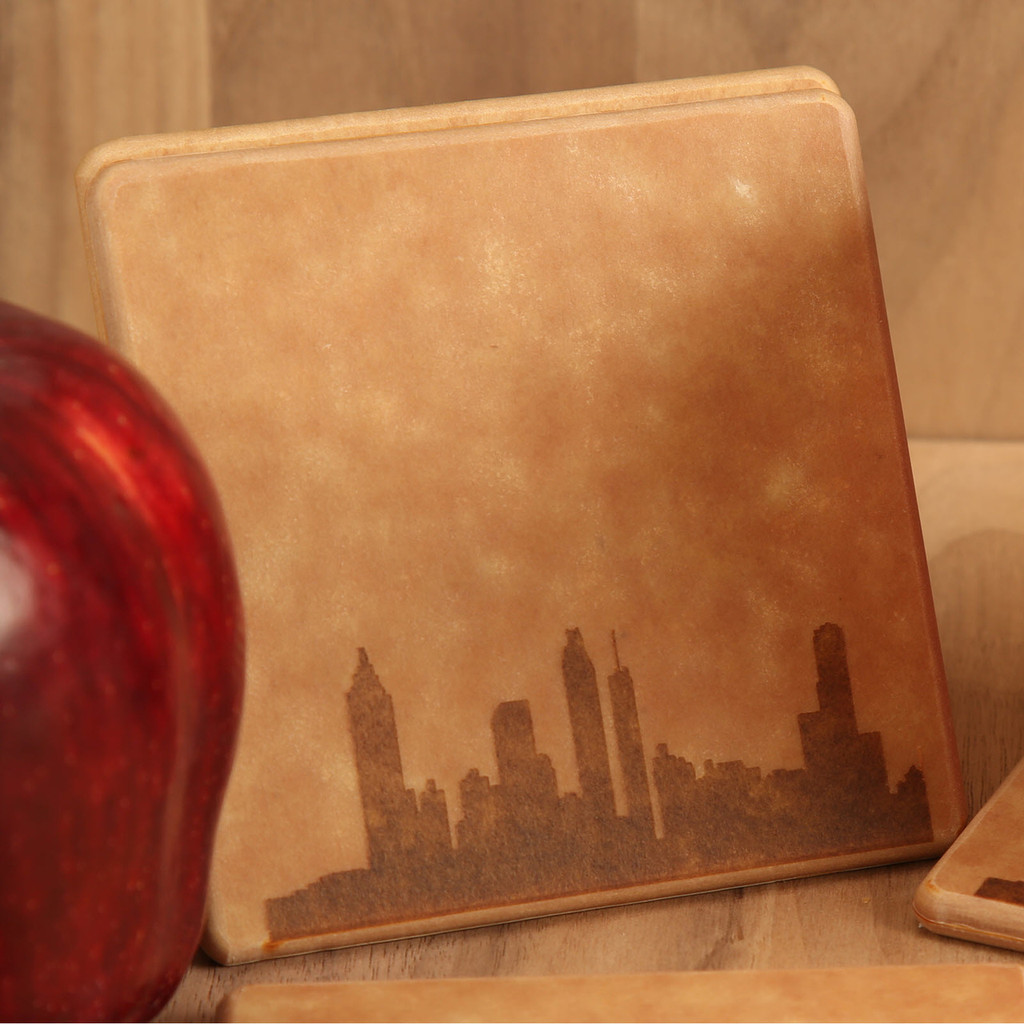Atlanta Skyline Engraved Coaster Set