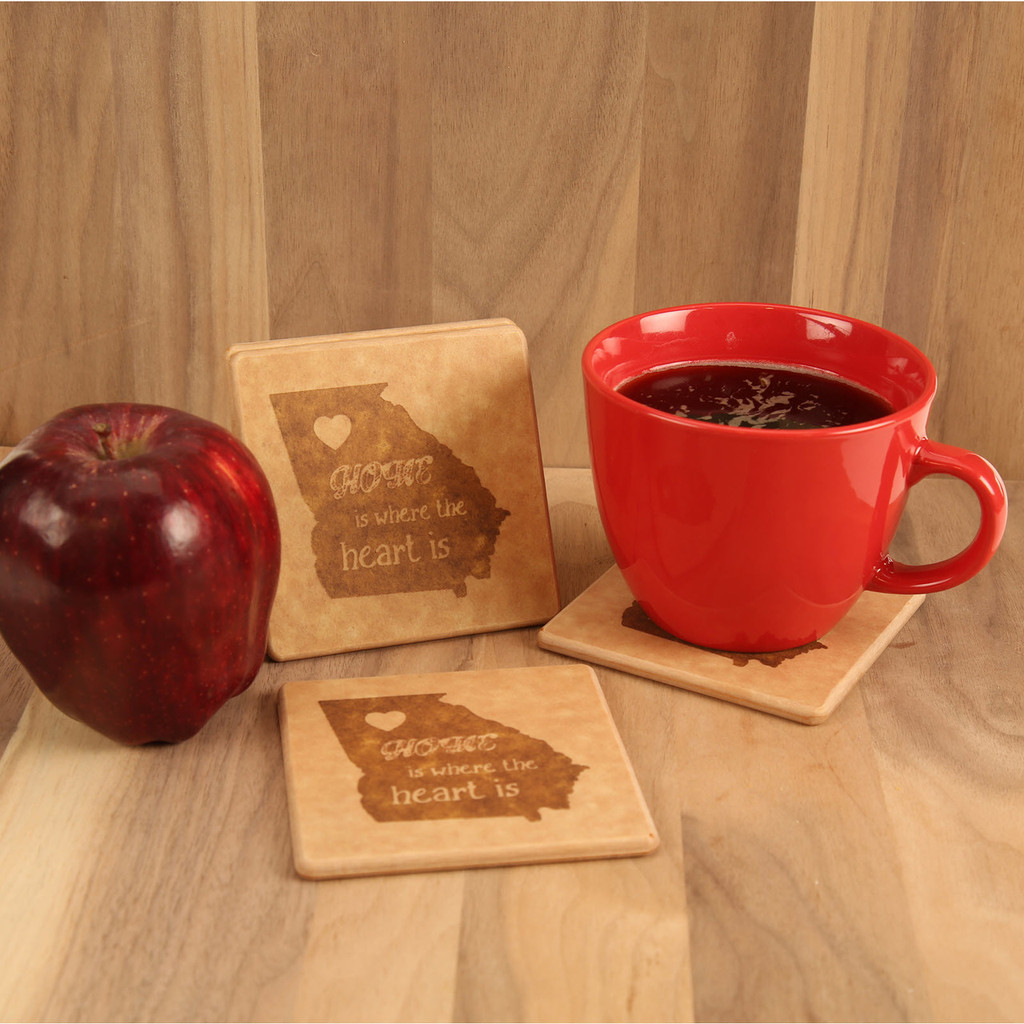 Georgia Home Is Where the Heart Is Engraved Coaster Set