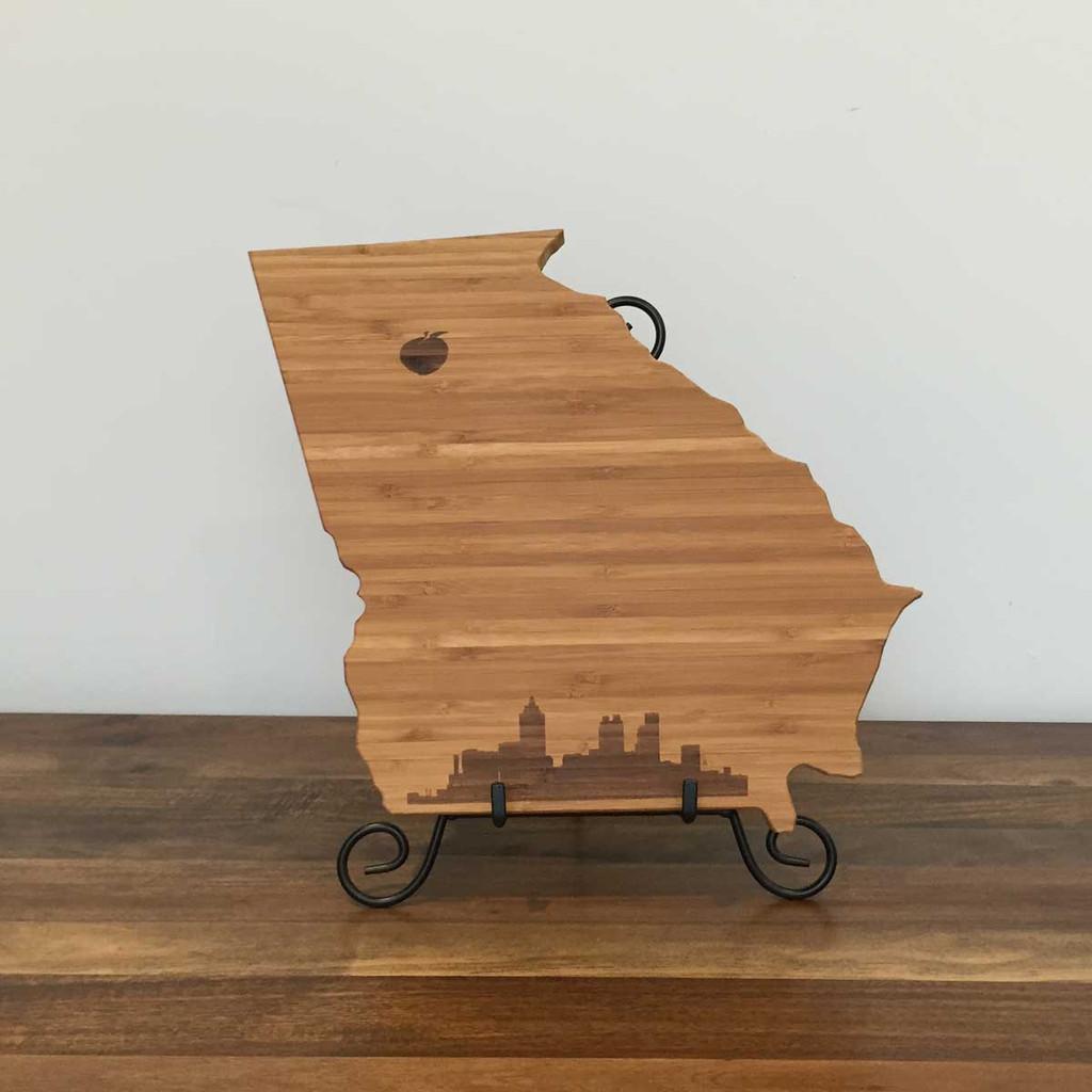 Georgia Board with Atlanta Skyline and Peach Moon