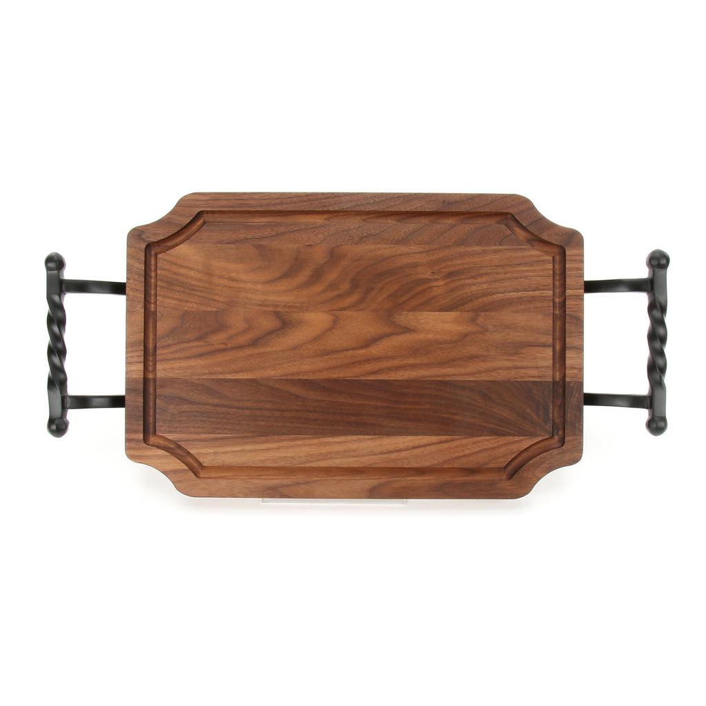 """Selwood 12"""" x 18"""" Cutting Board - Walnut (w/ Twisted Ball Handles)"""