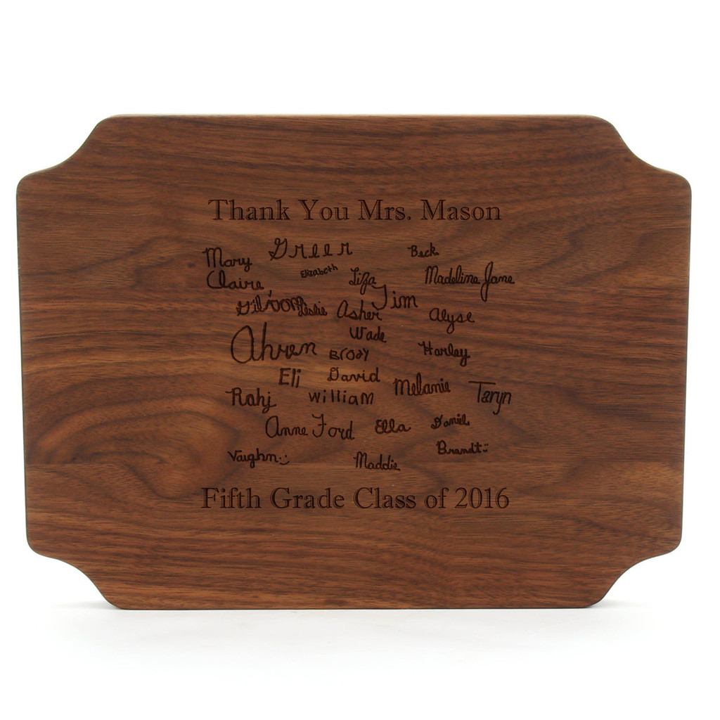 """Carved Initial 9"""" x 12"""" Scalloped Walnut Cutting Board w/Twisted Handles and Laser Engraved Signatures"""