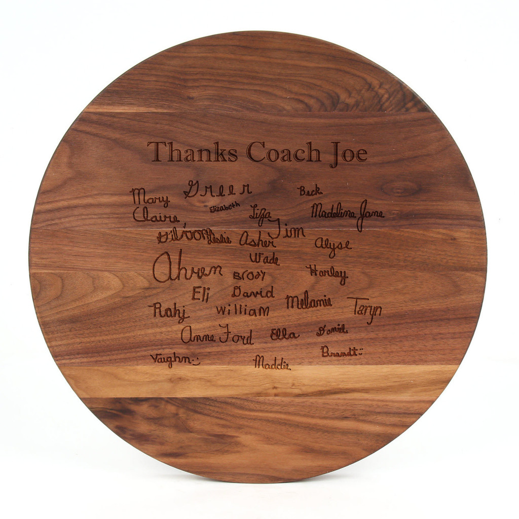 """Sports Engraved 16"""" Round Walnut Cutting Board w/Laser Engraved Signatures"""